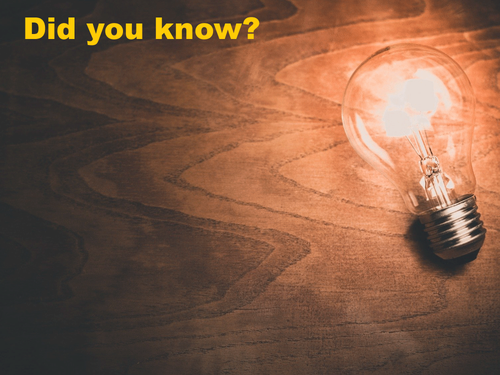 """Illuminated lightbulb with the text """"Did you know?"""""""